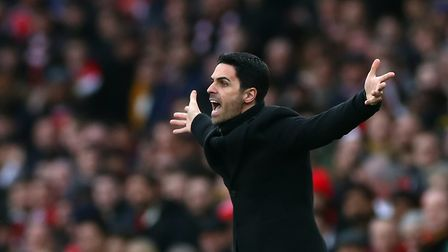Arsenal manager Mikel Arteta reacts after the final whistle during the Premier League match at the E