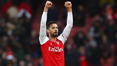 Arsenal's Pablo Mari reacts after the final whistle during the Premier League match at the Emirates