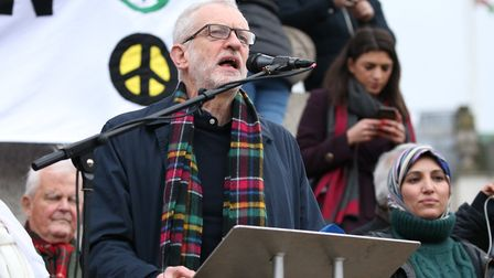 Stock photo of Labour leader Jeremy Corbyn addresses protesters at a Campaign for Nuclear Disarmamen