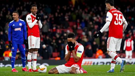 Arsenal's Pierre-Emerick Aubameyang after a missed chance during the Europa League match at the Emir