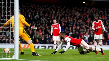 Arsenal's Alexandre Lacazette misses a shot on goal during the Europa League match at the Emirates S