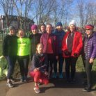 Sofia Ali (kneeling) with her Walk2Run group after her free weekly sessions. Picture: Nathalie Raffr