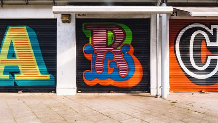 Shutters painted by artist Ben Eine. Picture: OurTypes