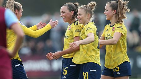Arsenal's Katie McCabe celebrates a goal against West Ham in the Women's FA Cup (pic Gavin Ellis/TGS