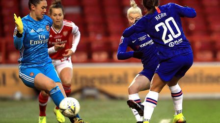 Chelsea's Bethany England (centre) scores her side's first goal of the game during the FA Women's Co