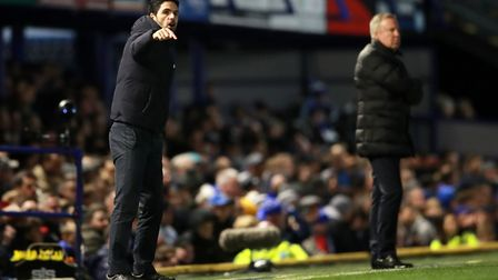 Arsenal manager Mikel Arteta and Portsmouth manager Kenny Jackett on the touchline during the FA Cup
