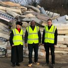 Cllr Lia Colaccico, Cllr Ernest Ezeajughi and Cllr Matt Kelcher at the council's household recycling