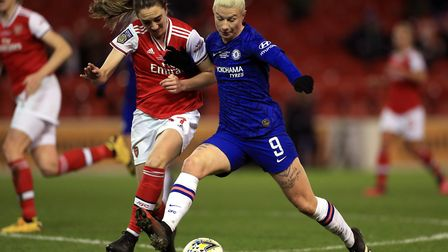 Arsenal's Lisa Evans (left) Chelsea's Bethany England battle for the ball during the FA Women's Cont