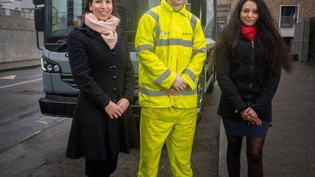 Veolia's Gisela Endres and Cllr Krupa Sheth with a Veolia operative. Picture: Brent Council