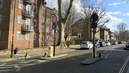 The traffic measure in Grange Grove, Islington. Picture: Andre Langlois