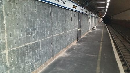 Essex Road station after the tiles have been stripped from the walls. Picture: Govia Thameslink