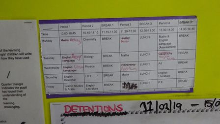 Classroom 3 timetable at the 'illegal' school within the Advance Education Centre in Park Royal. Pic