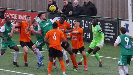 Luke Tingey tries to direct a header goalwards against Walton Casuals (pic DBeechPhotography)