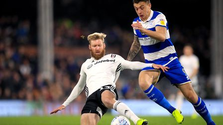 Queens Park Rangers' Jordan Hugill (right) in action against Fulham earlier this season. Picture: PA