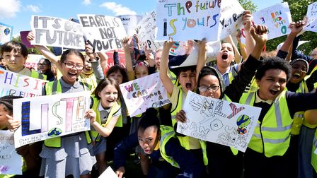 Stock image of Islington school kids on climate strike outside the town hall. Picture: Polly Hancock