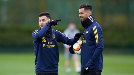 Arsenal's Gabriel Martinelli (left) and Pablo Mari during a training session at London Colney.