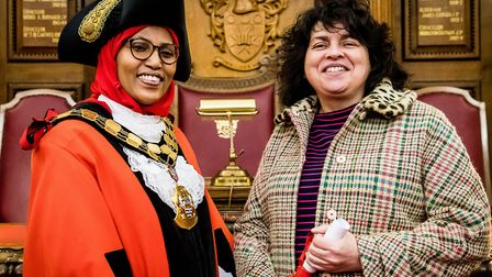 Mayor of Islington, Cllr Rakhia Ismail with ACL Learner Liz Collins. Picture: Em Fitzgerald Photogra