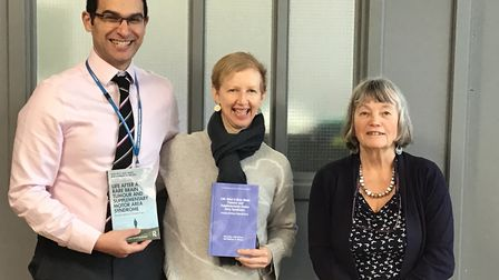 From left to right: Alex Jelly's consutant neurosurgeon Adel Helmy, Alex Jelly and Prof Barbara Wils