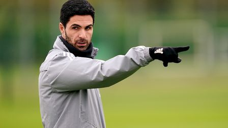 Arsenal manager Mikel Arteta during the training session at London Colney.