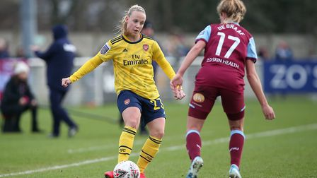 Beth Mead of Arsenal during West Ham United Women vs Arsenal Women, Women's FA Cup Football at Rush