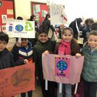 Around 35 pupils from Roe Green Junior School marched to Kingsbury high street on Friday, February 1