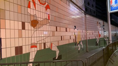 The murals along Wembley Way. Picture: ANDRE LANGLOIS