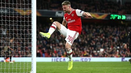 Arsenal's Shkodran Mustafi appears frustrated during a Europa League group F match at the Emirates S