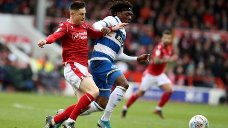 Nottingham Forest's Joe Lolley and QPR's Ebere Eze during the Sky Bet Championship match at the City