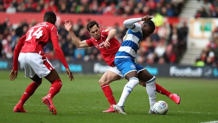 Nottingham Forest's Yuri Ribiero and QPR's Bright Osayi-Samuel during the Sky Bet Championship match