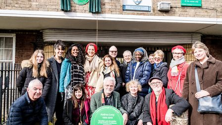 Family and friends of Andrea Levy with Bill Mayblin (centre), Andrea's husband. Picture: Em Fitzgera