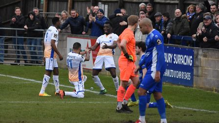 Wealdstone celebrate their equaliser against Chippenham. Picture: Adam Williams