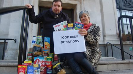 Cllr Troy Gallagher and Kathy Weston from Islington Food Bank outside Islington Town Hall. Picture: