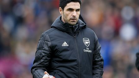 Arsenal manager Mikel Arteta prior to the beginning of the Premier League match at Turf Moor, Burnle