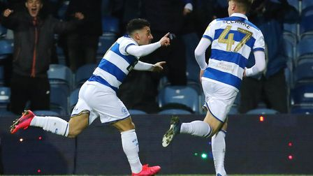 Queens Park Rangers' Ilias Chair celebrates scoring his side's second goal of the game against Derby
