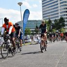 Les Ferdinand on the Football to Amsterdam bike ride. Picture: Prostate Cancer UK