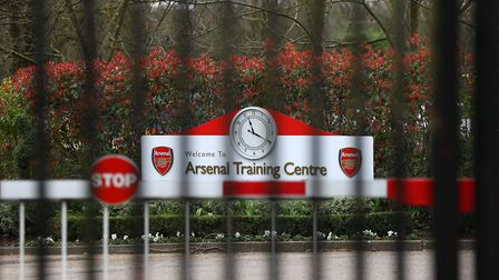 File photo dated 13-03-2020 of Closed gates at Arsenal's London Colney training ground. Picture: Bra