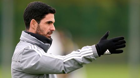 Arsenal manager Mikel Arteta during the training session at London Colney. Picture: John Walton/PA