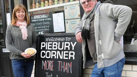 Nicky and Paul Campbell outside the Piebury Corner