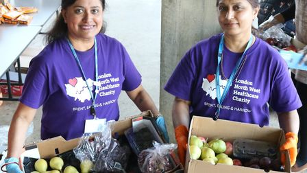 Panna Pala and Sujata Patel from the finance team at LNWH Charity co-ordinating donations. Picture: