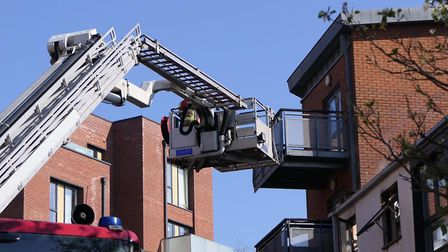 Fire crews tackle top floor flat fire in Harlesden. Picture: David Nathan