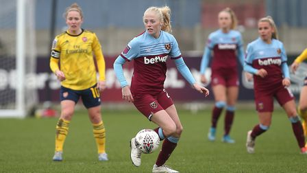 Grace Fisk of West Ham during West Ham United Women vs Arsenal Women, Women's FA Cup Football at Rus