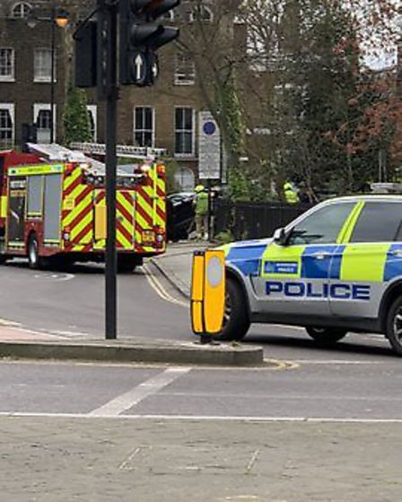 Police at the scene in Newington Green. Picture: Frankie O'Brien