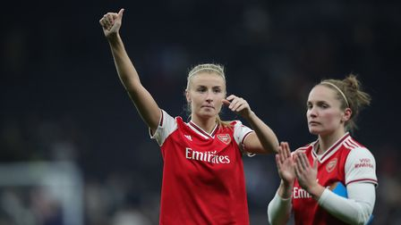 Arsenal's Leah Williamson celebrates after winning the FA Women's Super League match at the Tottenha