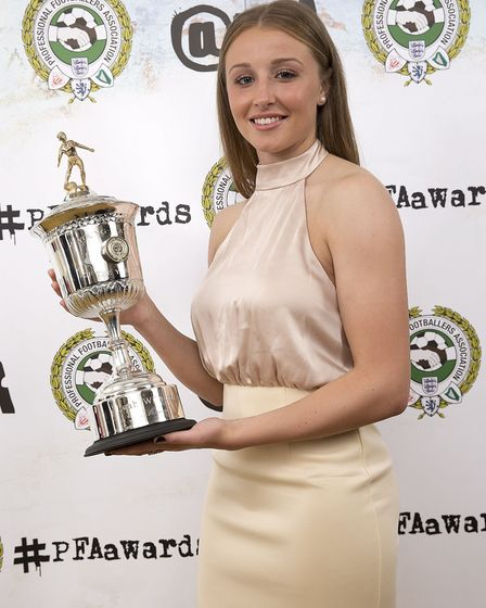 The PFA's Young Women's Player of the Year, Leah Williamson, during the PFA Awards at the Grosvenor