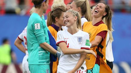 England goalkeeper Karen Bardsley (left), Leah Williamson and Carly Telford (right) celebrate after