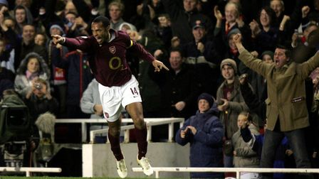 Arsenal's Thierry Henry celebrates scoring the second goal against Juventus during the UEFA Champion