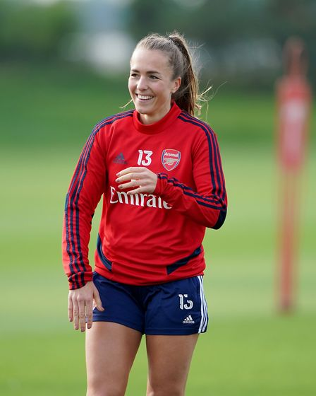 Arsenal's Lia Walti during a training session at London Colney