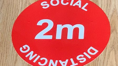 Social distancing signs and stickers are being put up by Brent Council. Picture: Brent Council