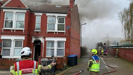 Fire crews at the blaze in Brownlow Road, Harlesden, on Saturday morning. Picture: @LondonFire