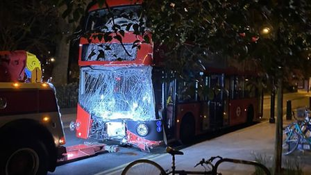 A bus in Newington Green after the crash. Picture: @KiranRvms